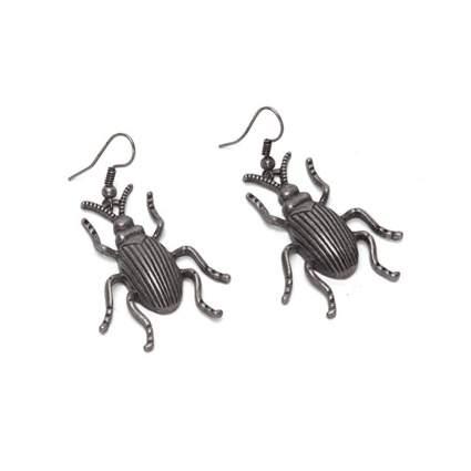 oxidized silver beetle earrings