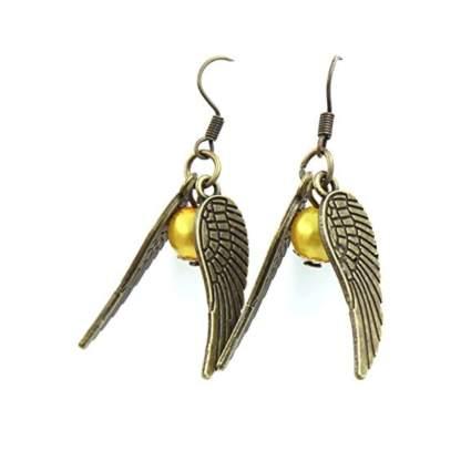 golden orb snitch bead earrings