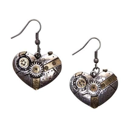 heart shaped gear earrings