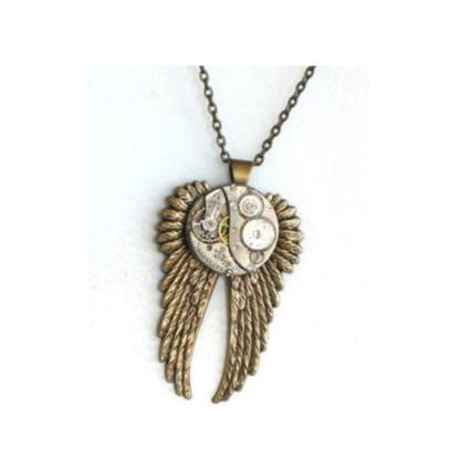 gold tone jeweled watch movement necklace