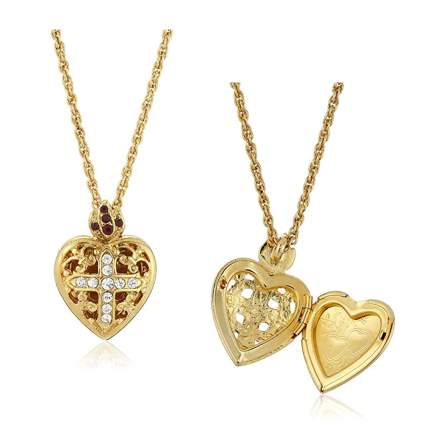 Gold dipped crystal cross heart locket