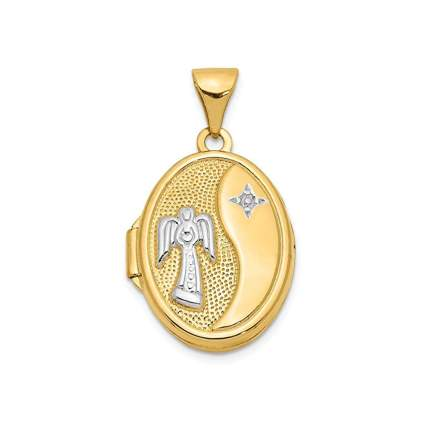 yellow gold oval guardian angel locket
