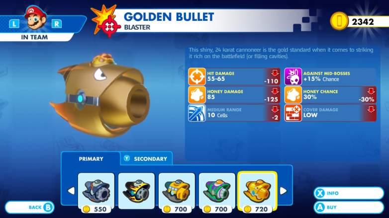 Mario+ Rabbids Kingdom Battle gold weapon