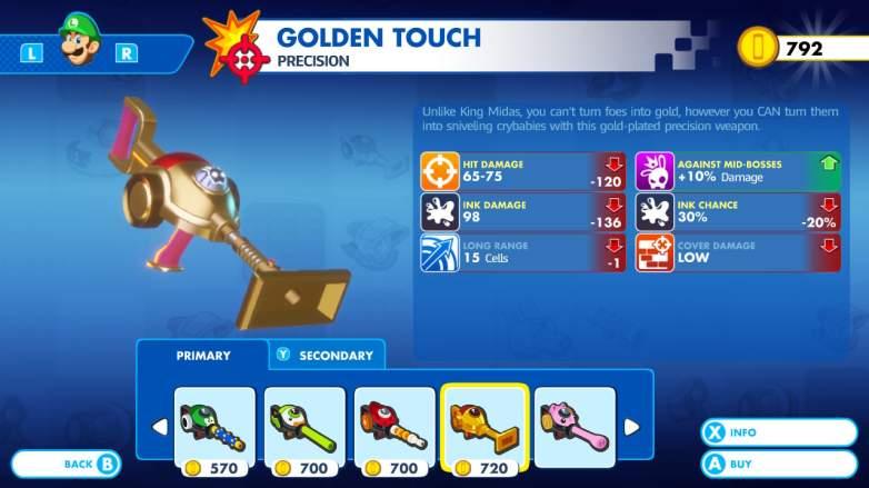 Mario + Rabbids Kingdom Battle gold weapon