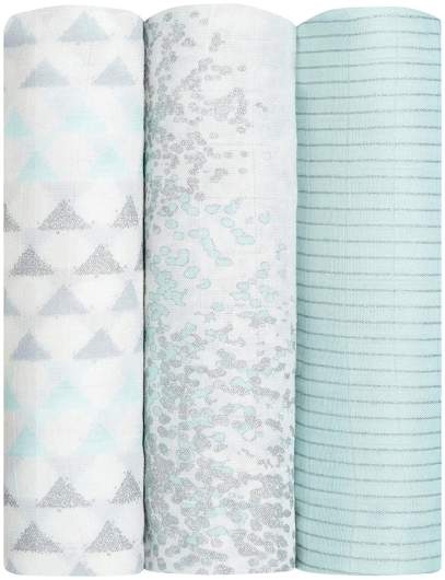 Aden + Anais Silky Soft Metallic Swaddle 3 Pack (Skylight Birch), best new baby products, new baby products, best new swaddles, best swaddles, baby swaddles, metallic baby swaddles, pretty baby swaddles, stylish baby swaddles, modern baby swaddles, classic baby swaddles