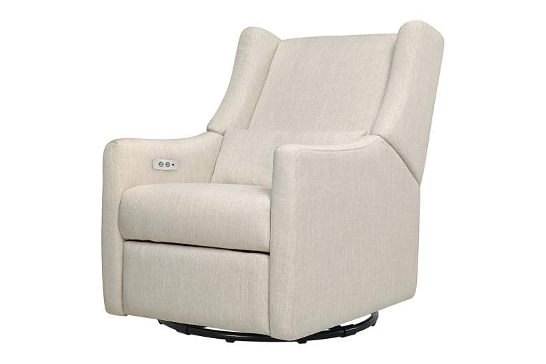 Babyletto Kiwi Glider Recliner with Electronic USB Control (White Linen), best new baby products, new baby products, best nursery gliders, nursery gliders, best new nursery gliders, new nursery gliders, remote control nursery glider