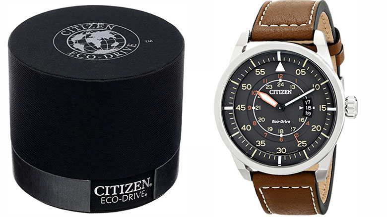 citizen mens eco-drive stainless steel watch with brown leather strap