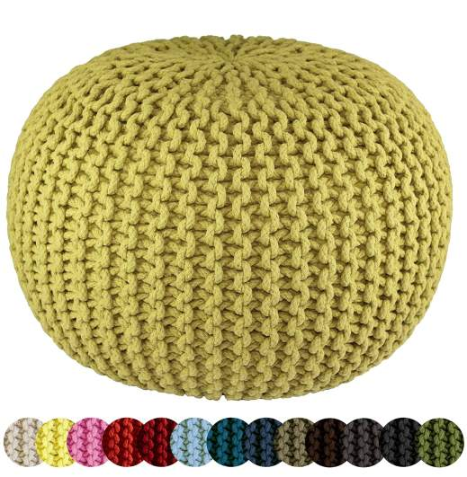 Cotton Craft Hand Knitted Cable Style Dori Pouf, hand knitted pouf, hand knitted ottoman, best ottoman, ottoman, round ottoman, knitted pouf, ottoman for nursery, nursery ottoman, best nursery ottoman