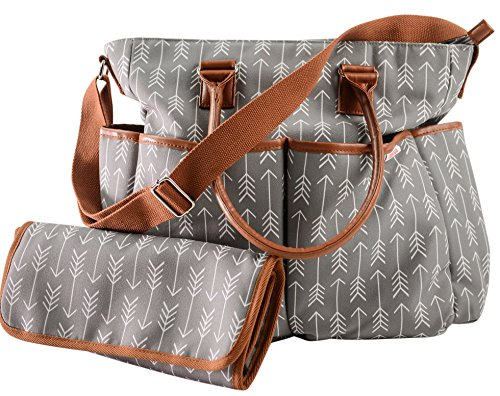 Danha Diaper Bag with Baby Changing Pad (Striking Arrow Patterns), best diaper bags, diaper bags, best diaper bags for new moms, diaper bags for new moms, affordable diaper bags, satchel diaper bags, diaper bags with pockets, patterned diaper bags, gray and white diaper bags, cute diaper bags