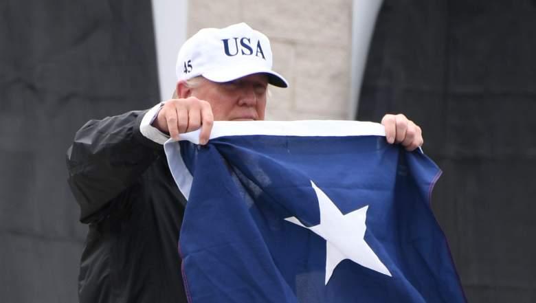 trump with texas flag