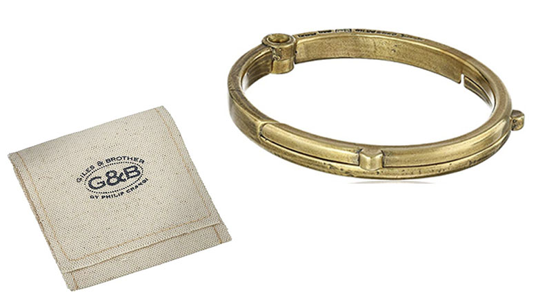 giles and brother mens g and b latch classic brass cuff bracelet