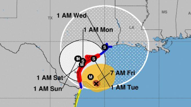 hurricane harvey friday, hurricane harvey path, hurricane harvey maps