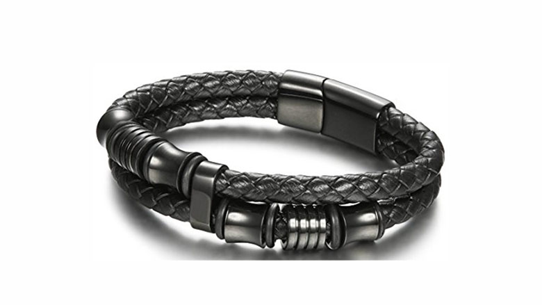 joerica stainless steel and leather bracelet