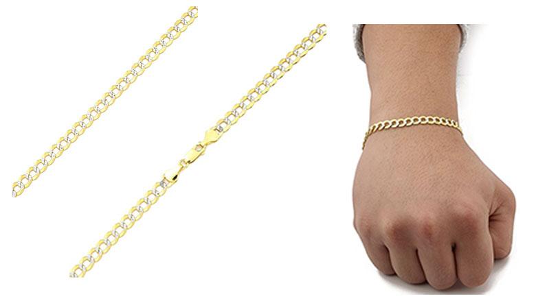 lovebling 14 karat solid pave two-tone curb bracelet