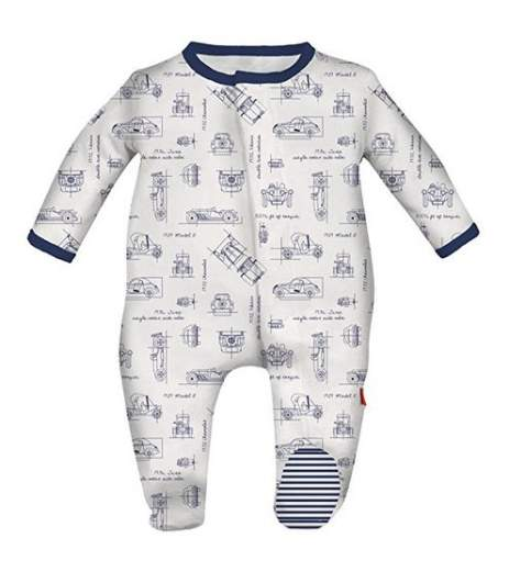 Magnificent Baby Baby Boys' Magnetic 1 Piece Footie, best new baby products, new baby products, magnetic snap onesie, best new onesie, best baby pajamas, best baby onesies, blueprint onesie