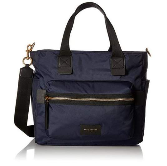 Marc Jacobs Nylon Biker Baby Weekender Bag, marc jacbos diaper bag, best diaper bags, diaper bags, best diaper bags for new moms, diaper bags for new moms, navy diaper bag, designer diaper bag, stylish diaper bag, cute diaper bag, shoulder diaper bag