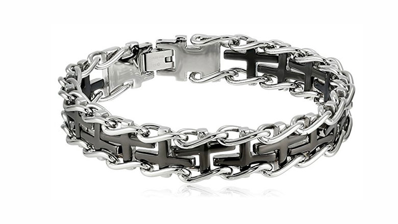 mens stainless steel railroad bracelet