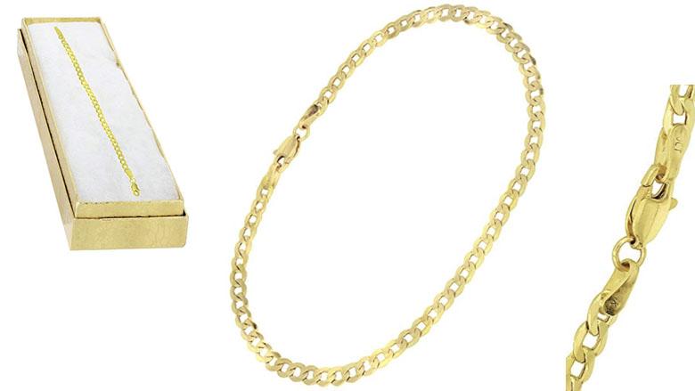 syns mens 14k curb link cuban bracelet