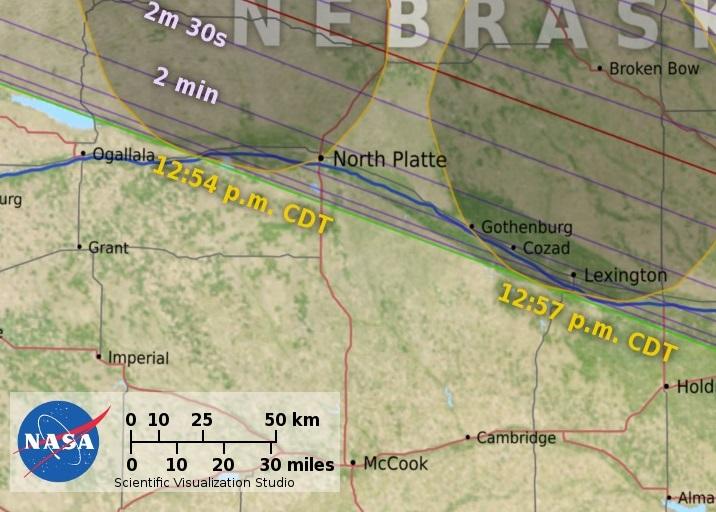 North Platte eclipse map, Nebraska Eclipse Map