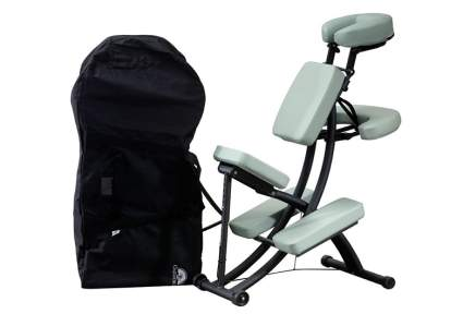 grey massage chair with black bag
