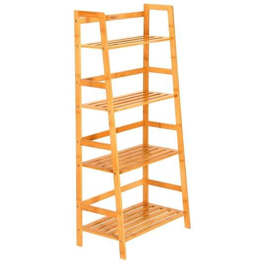 small bookcase, bamboo bookcase, ladder bookcase