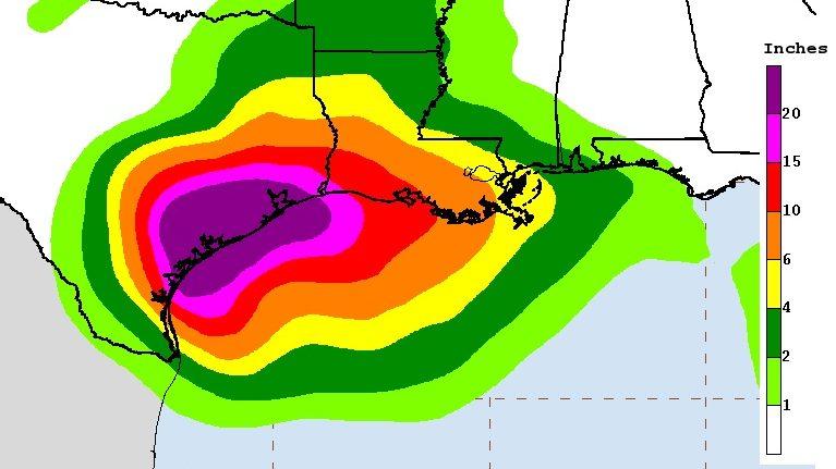 Hurricane Harvey rain totals, Hurricane Harvey Mississippi, Bliloxi Mississipp