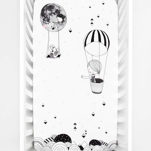 Rookie Humans 100% Cotton Sateen Fitted Crib Sheet (Frieda & the Hot Air Balloon), hot air balloon crib sheets, best crib sheets, modern crib sheets, black and white crib sheets, best new baby products, new baby products, cute crib sheets