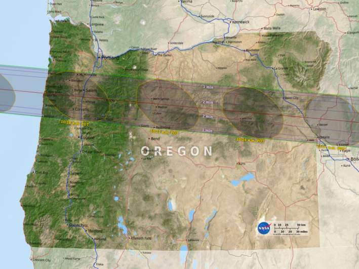 Oregon's path of totality.