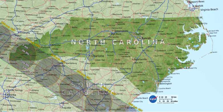 North Carolina path of totality