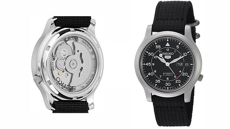 seiko mens snk809 seiko 5 stainless steel watch with black canvas strap