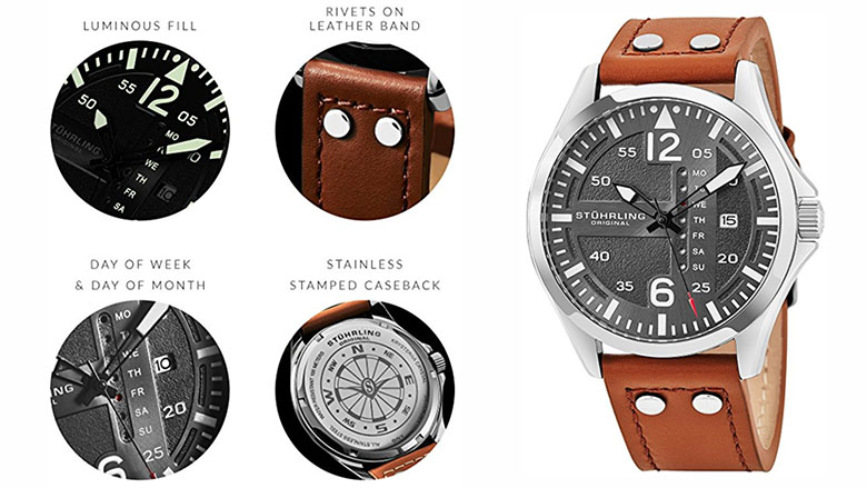 stuhrling original mens analog stainless steel sport aviator watch