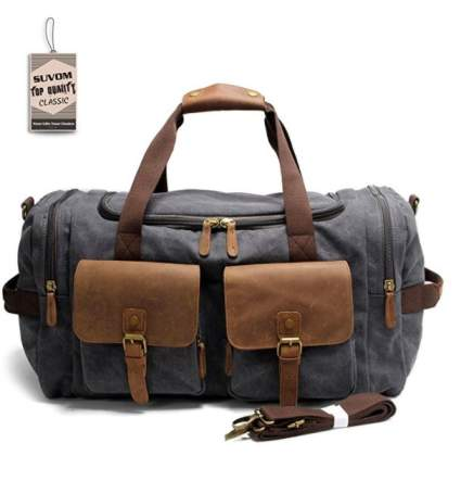 Suvom leather travel duffel, best luggage air travel, best carryon airplane luggage, best luggage for carryon