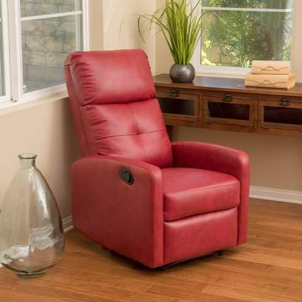 leather recliners, red leather recliner
