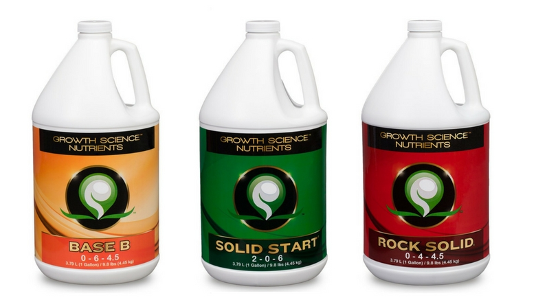 Growth Science Nutrients Base, Solid Start & Rock Solid Liquid Nutrients