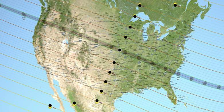 Path of totality map, total solar eclipse definition, partial solar eclipse definition, total vs partial solar eclipse