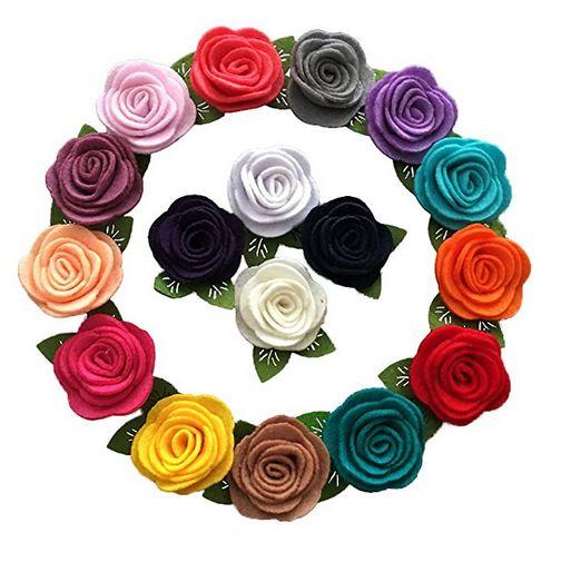 Yazon Mini Felt Rose Flower With Leaf Baby Hair Accessories, felt flower hair accessories, best baby hair accessories, baby hair accessories, rosettes for hair, rainbow hair accessories