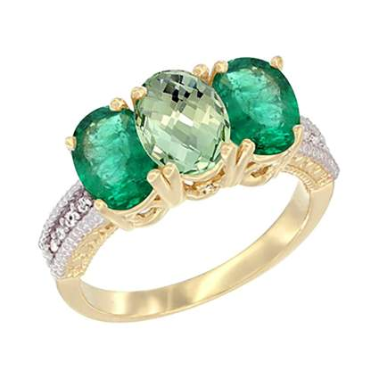 emerald and green amethyst ring