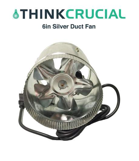 Think Crucial Durable Silver Inline Fan,