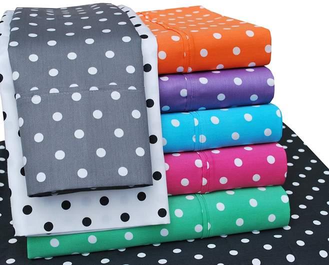 printed sheets, polka dot sheets