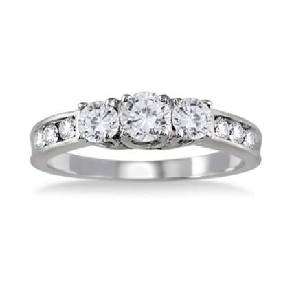 three stone diamond anniversary ring