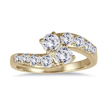 gold and diamond bypass ring