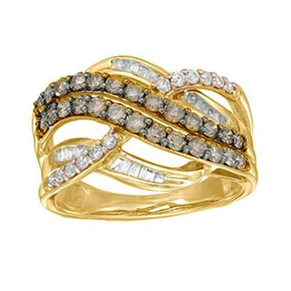 champagne and white diamond anniversary ring