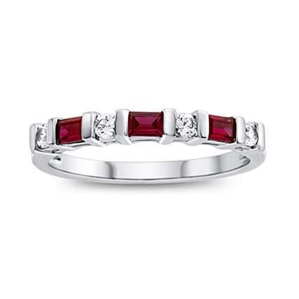 garnet and white sapphire eternity ring