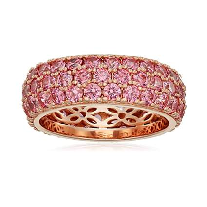 rose gold plated pink anniversary ring