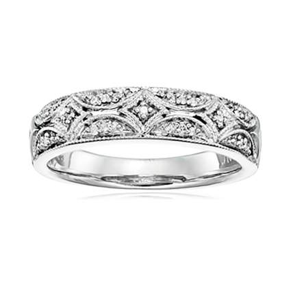 sterling silver and diamond anniversary band