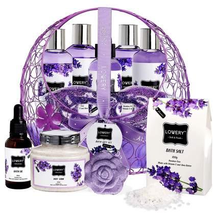 purple lavender spa gift basket