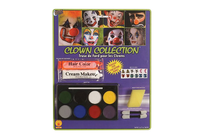 Packet of clown makeup with applicators
