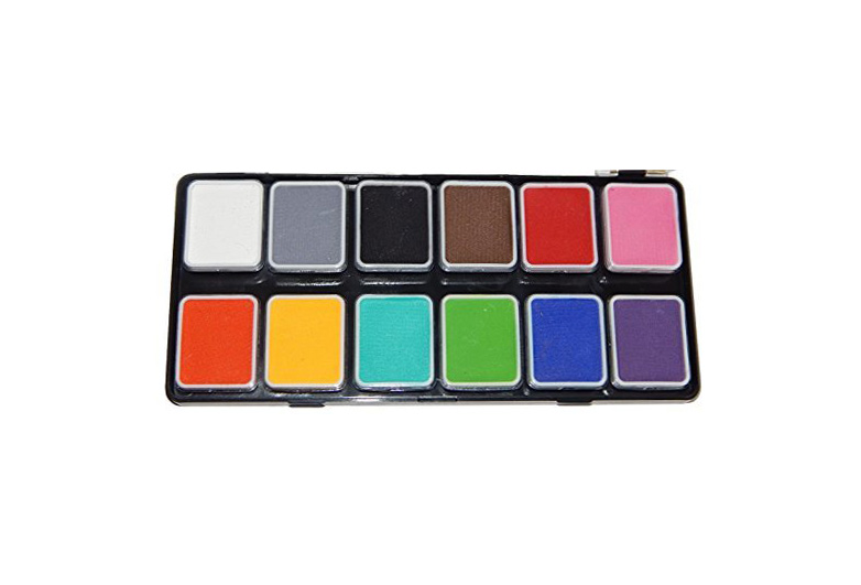 Halloween makeup set of primary colors