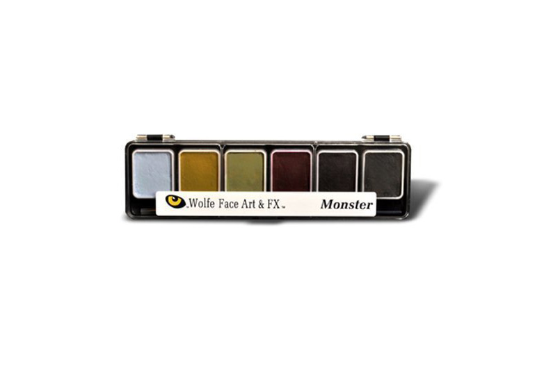 Muted dull color halloween palette of makeup