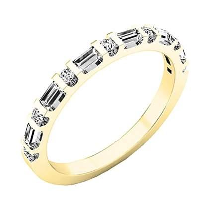 brilliant and baguette diamond anniversary ring